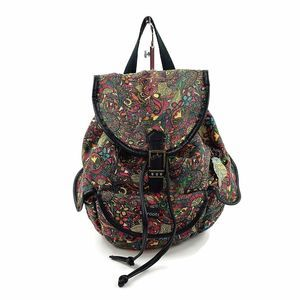 SAKROOTS Colorful Paisley Print Backpack Owl Charm